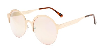 Angle of Margot #3833 in Gold Frame with Pink Mirrored Lenses, Women's Round Sunglasses