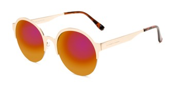 Angle of Margot #3833 in Gold Frame with Red/Orange Mirrored Lenses, Women's Round Sunglasses