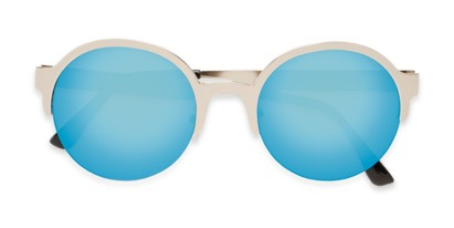 Folded of Margot #3833 in Silver Frame with Ice Blue Mirrored Lenses