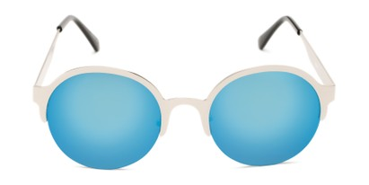 Front of Margot #3833 in Silver Frame with Ice Blue Mirrored Lenses