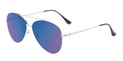 Angle of Marin #9103 in Silver Frame with Blue Mirrored Lenses, Women's and Men's Aviator Sunglasses