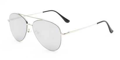 Angle of Marin #9103 in Silver Frame with Silver Mirrored Lenses, Women's and Men's Aviator Sunglasses