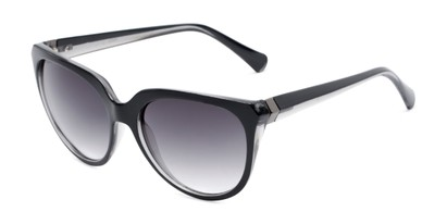 Angle of Marion #32095 in Black/Clear Frame with Smoke Lenses, Women's Cat Eye Sunglasses