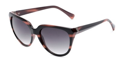 Angle of Marion #32095 in Black/Purple Striped Frame with Smoke Lenses, Women's Cat Eye Sunglasses