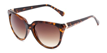 Angle of Marion #32095 in Tortoise Frame with Amber Lenses, Women's Cat Eye Sunglasses
