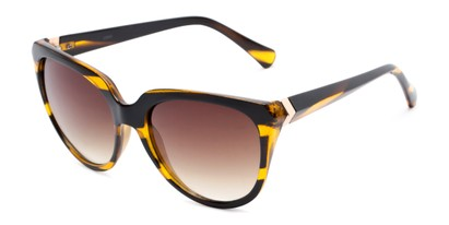 Angle of Marion #32095 in Black/Yellow Striped Frame with Amber Lenses, Women's Cat Eye Sunglasses