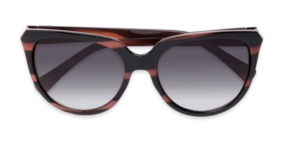 Folded of Marion #32095 in Black/Purple Striped Frame with Smoke Lenses