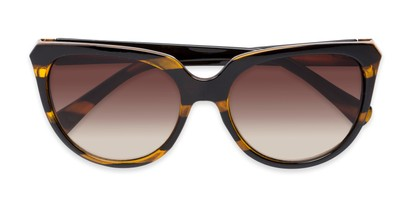 Folded of Marion #32095 in Black/Yellow Striped Frame with Amber Lenses