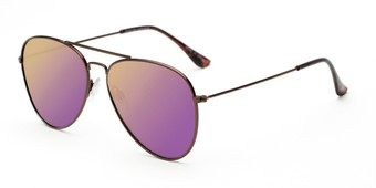 Angle of McCartney #2018 in Bronze Frame with Violet Purple Lenses, Women's Aviator Sunglasses