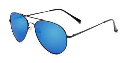 Angle of Miami #1285 in Black Frame with Blue Mirrored Lenses, Women's and Men's Aviator Sunglasses