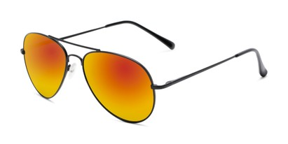 Angle of Miami #1285 in Black Frame with Red/Orange Mirrored Lenses, Women's and Men's Aviator Sunglasses