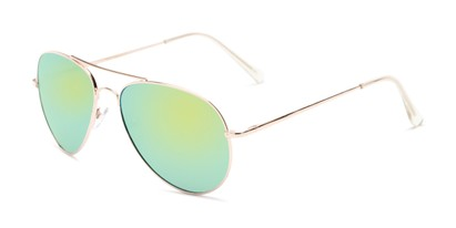 Angle of Miami #1285 in Gold Frame with Yellow/Green Mirrored Lenses, Women's and Men's Aviator Sunglasses