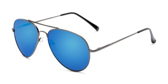 Angle of Miami #1285 in Grey Frame with Blue Mirrored Lenses, Women's and Men's Aviator Sunglasses
