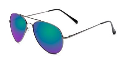 Angle of Miami #1285 in Grey Frame with Green/Purple Mirrored Lenses, Women's and Men's Aviator Sunglasses