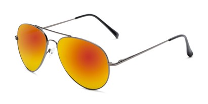 Angle of Miami #1285 in Grey Frame with Red/Orange Mirrored Lenses, Women's and Men's Aviator Sunglasses