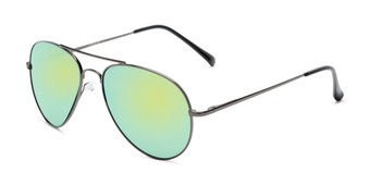 Angle of Miami #1285 in Grey Frame with Yellow/Green Mirrored Lenses, Women's and Men's Aviator Sunglasses