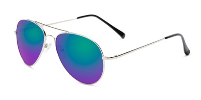 Angle of Miami #1285 in Silver and Black Frame with Green/Purple Mirrored Lenses, Women's and Men's Aviator Sunglasses