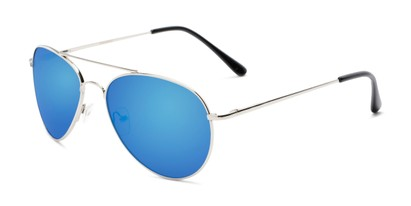 Angle of Miami #1285 in Silver Frame with Blue Mirrored Lenses, Women's and Men's Aviator Sunglasses