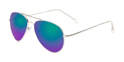 Angle of Miami #1285 in Silver and Clear Frame with Green/Purple Mirrored Lenses, Women's and Men's Aviator Sunglasses