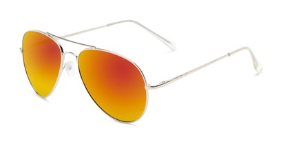 Angle of Miami #1285 in Silver Frame with Red/Orange Mirrored Lenses, Women's and Men's Aviator Sunglasses