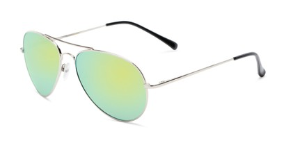 Angle of Miami #1285 in Silver Frame with Yellow/Green Mirrored Lenses, Women's and Men's Aviator Sunglasses