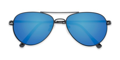 Folded of Miami #1285 in Black Frame with Blue Mirrored Lenses