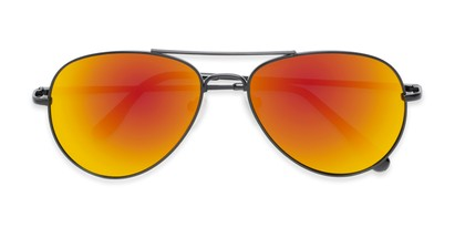 Folded of Miami #1285 in Black Frame with Red/Orange Mirrored Lenses
