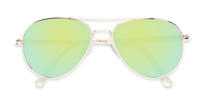 Folded of Miami #1285 in Gold Frame with Yellow/Green Mirrored Lenses
