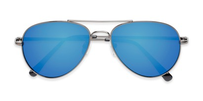 Folded of Miami #1285 in Grey Frame with Blue Mirrored Lenses