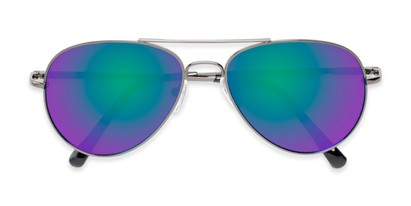 Folded of Miami #1285 in Grey Frame with Green/Purple Mirrored Lenses