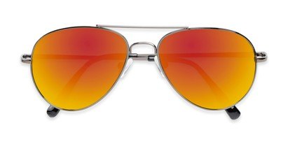 Folded of Miami #1285 in Grey Frame with Red/Orange Mirrored Lenses