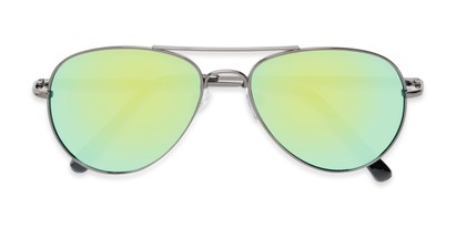 Folded of Miami #1285 in Grey Frame with Yellow/Green Mirrored Lenses