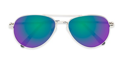 Folded of Miami #1285 in Silver and Black Frame with Green/Purple Mirrored Lenses