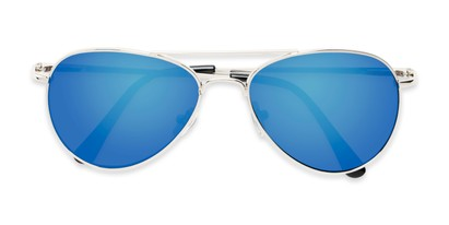 Folded of Miami #1285 in Silver Frame with Blue Mirrored Lenses
