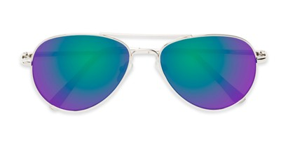 Folded of Miami #1285 in Silver and Clear Frame with Green/Purple Mirrored Lenses