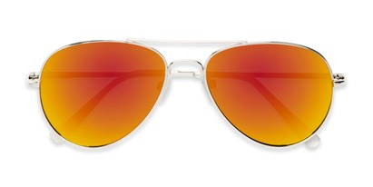 Folded of Miami #1285 in Silver Frame with Red/Orange Mirrored Lenses