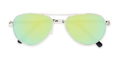Folded of Miami #1285 in Silver Frame with Yellow/Green Mirrored Lenses