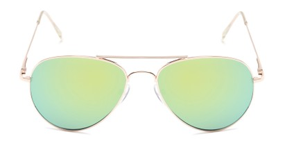 Front of Miami #1285 in Gold Frame with Yellow/Green Mirrored Lenses
