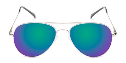 Front of Miami #1285 in Silver and Black Frame with Green/Purple Mirrored Lenses