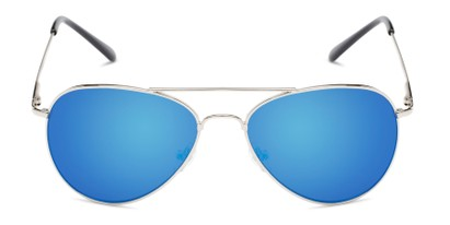 Front of Miami #1285 in Silver Frame with Blue Mirrored Lenses