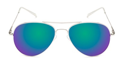 Front of Miami #1285 in Silver and Clear Frame with Green/Purple Mirrored Lenses