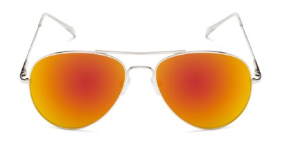 Front of Miami #1285 in Silver Frame with Red/Orange Mirrored Lenses