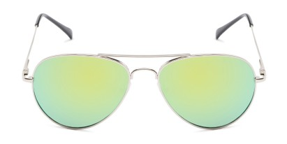Front of Miami #1285 in Silver Frame with Yellow/Green Mirrored Lenses