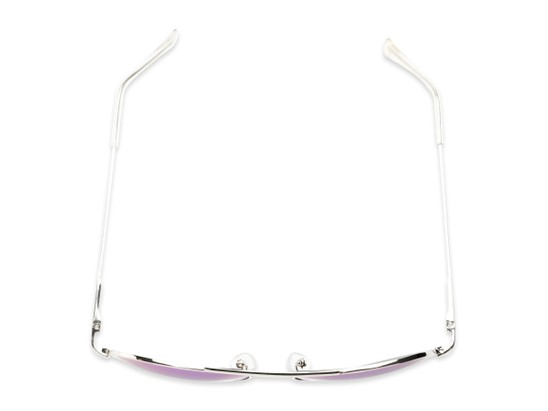 Overhead of Miami #1285 in Silver and Clear Frame with Green/Purple Mirrored Lenses