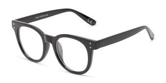 Angle of Midland #7129 in Glossy Black Frame with Clear Lenses, Women's and Men's Retro Square Fake Glasses