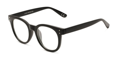Angle of Midland #7129 in Matte Black with Clear Lenses, Women's and Men's Retro Square Fake Glasses