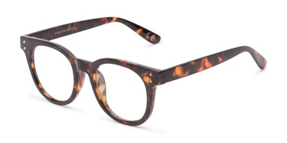 Angle of Midland #7129 in Tortoise Frame with Clear Lenses, Women's and Men's Retro Square Fake Glasses