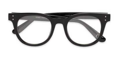 Folded of Midland #7129 in Glossy Black Frame with Clear Lenses