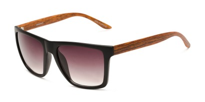 Angle of Miller #54099 in Black/Brown Frame with Smoke Lenses, Women's and Men's Square Sunglasses