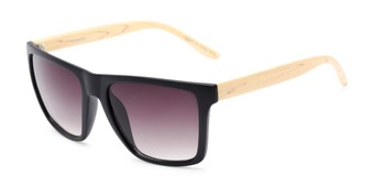 Angle of Miller #54099 in Black/Tan Frame with Smoke Lenses, Women's and Men's Square Sunglasses